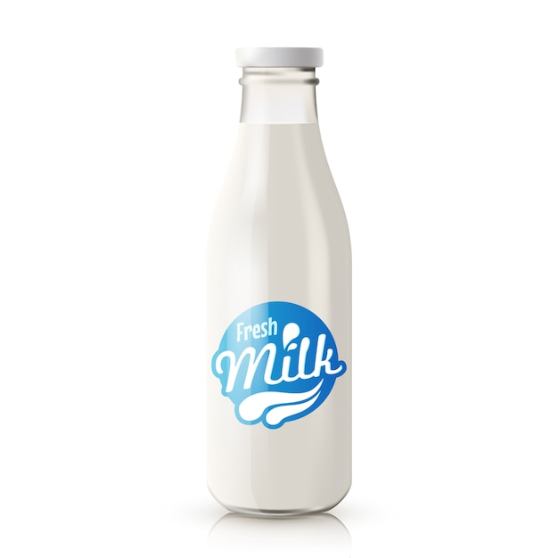 Milk bottle realistic Free Vector