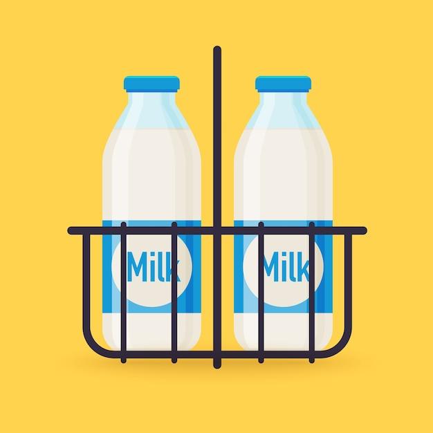 牛乳瓶 Premiumベクター