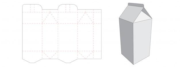Milk box packaging die cut template design Premium Vector