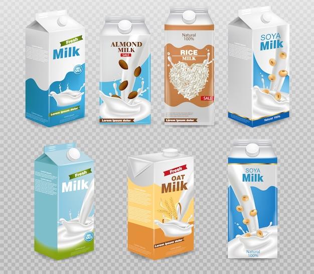 Milk boxes isolated on transparent background Premium Vector