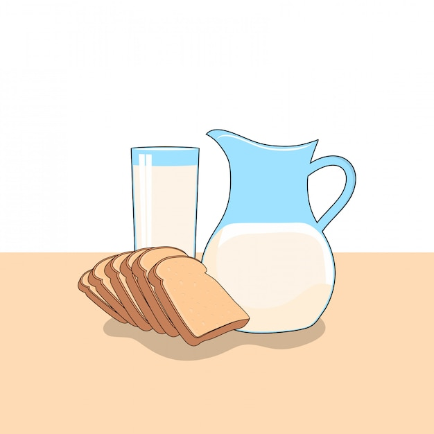 Milk and bread clipart illustration. fast food clipart concept isolated. flat cartoon style vector Premium Vector