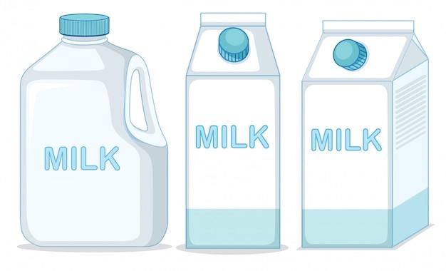 牛乳パックとボトル 無料ベクター