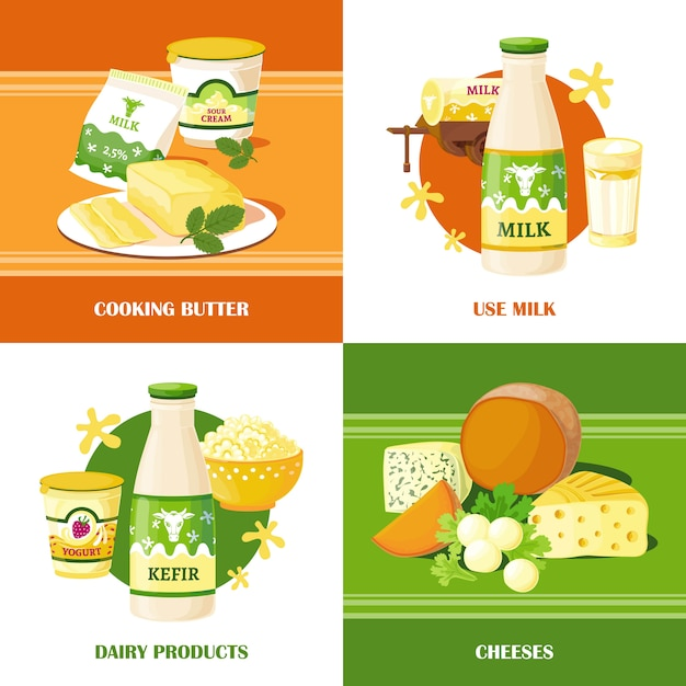 Milk and cheese 2x2 design concept Free Vector