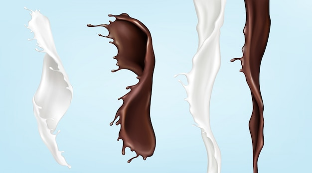 Milk and chocolate streams, pouring swirl liquids Free Vector
