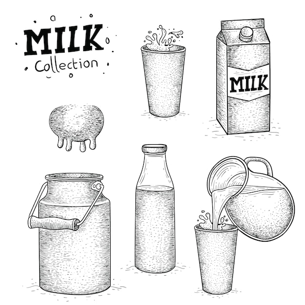 手描きの牛乳コレクション Premiumベクター