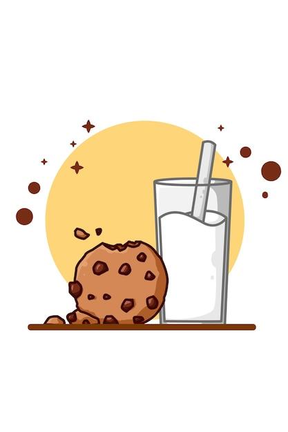Milk and cookies illustration Premium Vector