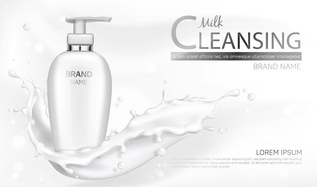 Milk cosmetics bottle mockup with splash design Free Vector