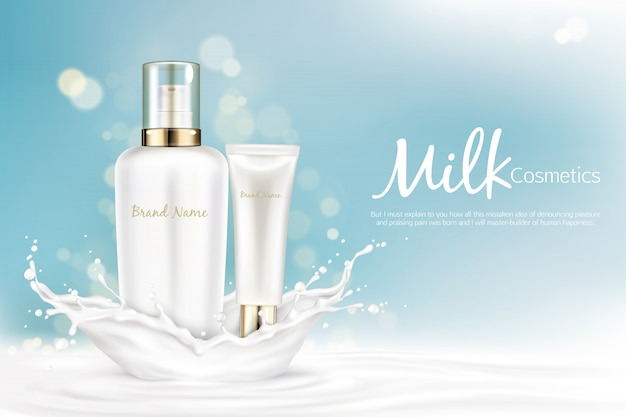 Milk cosmetics bottles mockup with space for name brand stand at milky splash Free Vector
