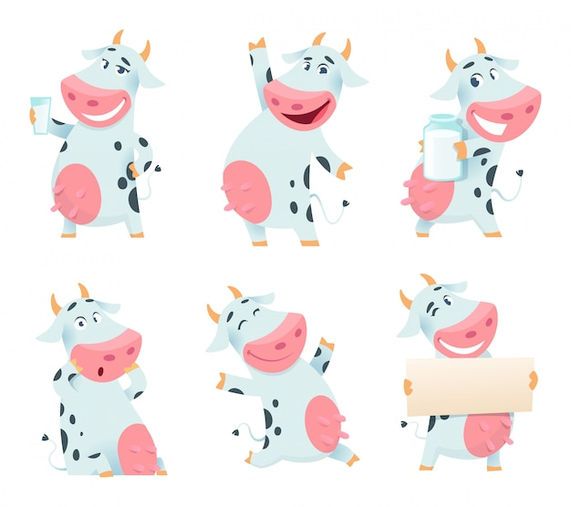 Milk cow animal. cartoon farm character eating and posing cows mascots isolated Premium Vector