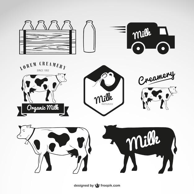 Milk and cow logos Premium Vector