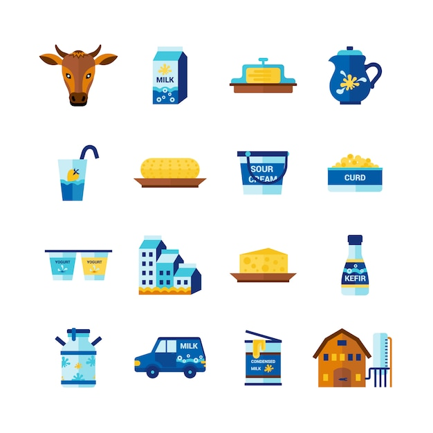Milk dairy products flat icons set Free Vector
