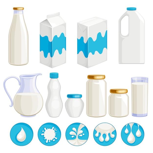 Milk dairy products icons set Premium Vector