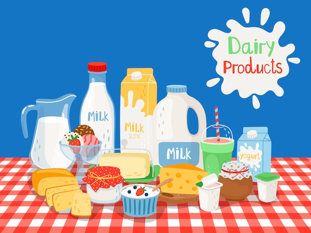 Milk and diary products Premium Vector