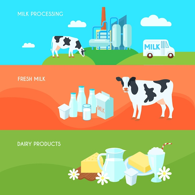 Milk farm dairy products flat horizontal banners set with cream yoghurt and cheese Free Vector