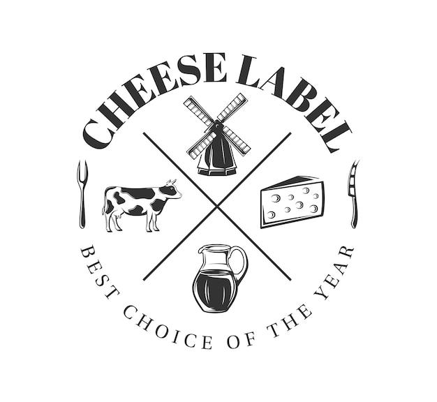 白い背景の上の牛乳ラベル。チーズ農場の要素。ロゴ、看板、ブランディングのテンプレートです。図 Premiumベクター