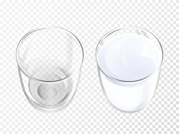 Milk glass 3d illustration of realistic crockery for dairy drink or yogurt top view. Free Vector