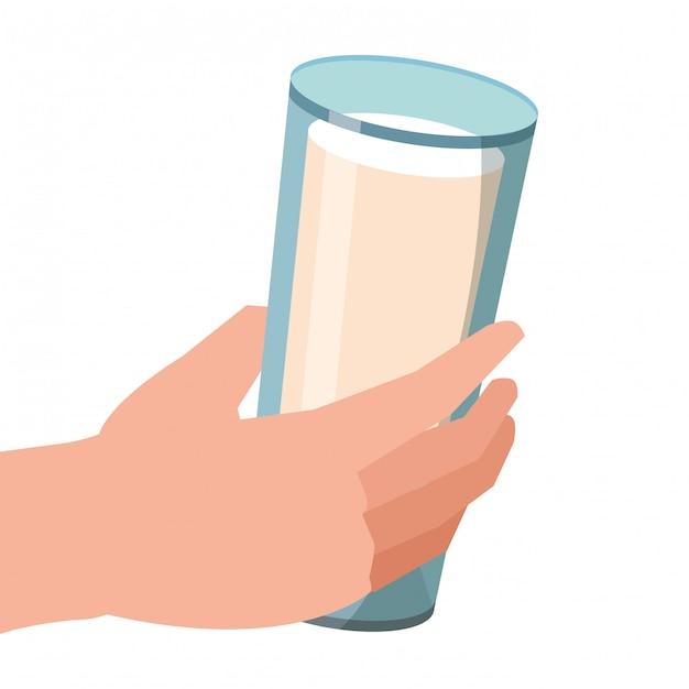 Milk glass cartoon Premium Vector