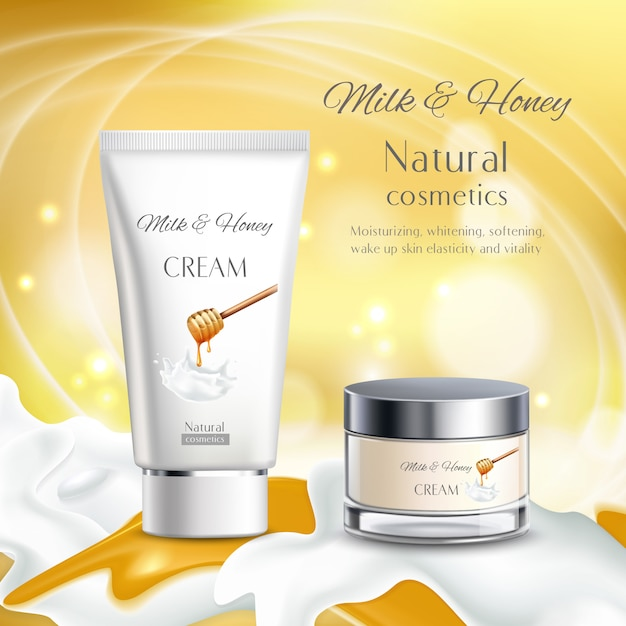 Milk and honey natural cosmetics illustration Free Vector