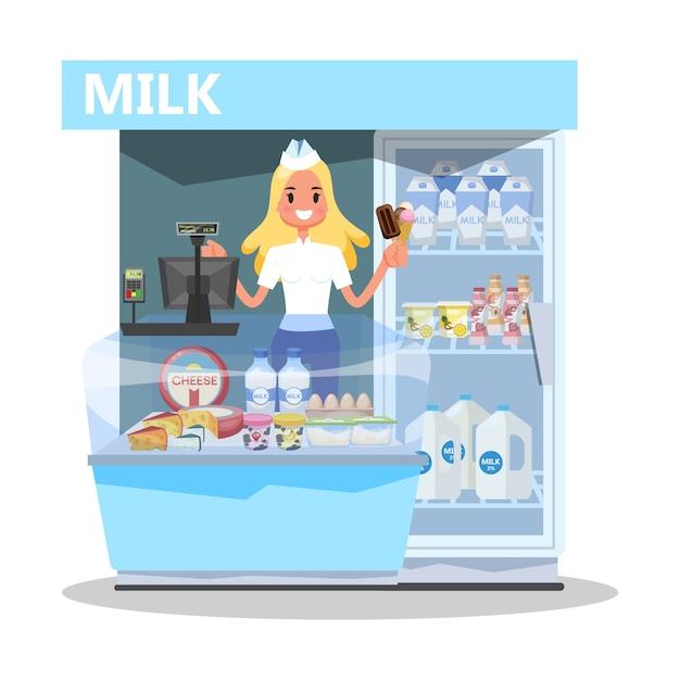 Концепция рынка молока. счастливая молодая женщина, стоящая Premium векторы