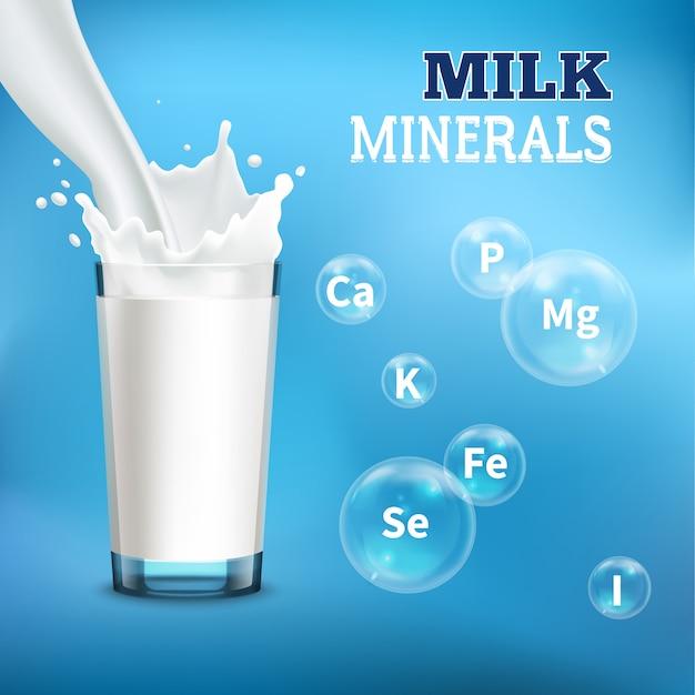 牛乳のミネラルとビタミンのイラスト 無料ベクター