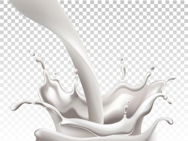 牛乳を注ぐと大きな水しぶきを作る 無料ベクター