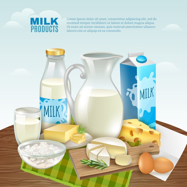 Milk products background Free Vector
