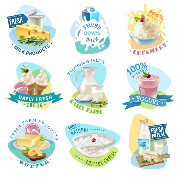 Milk products emblems set Free Vector