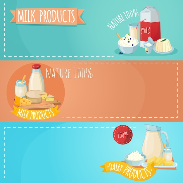 Milk products horizontal banners set Free Vector
