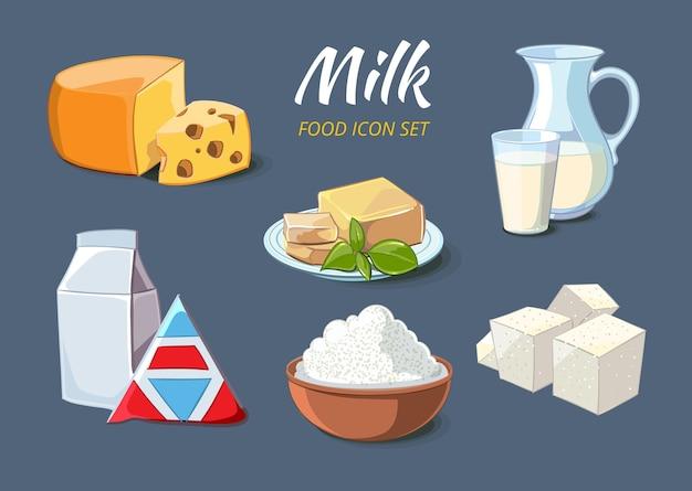 Иконки молочных продуктов в мультяшном стиле. пищевой органический сыр и масло, творог и фета, векторные иллюстрации Бесплатные векторы