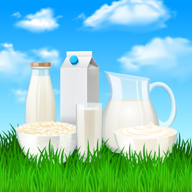 Milk products illustration Free Vector