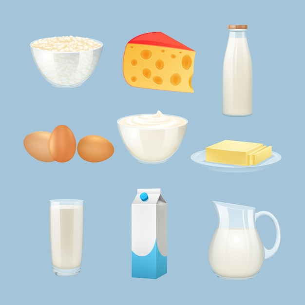 Milk products set with eggs cheese and cream Free Vector