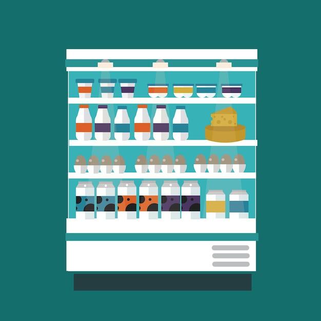 Прилавок магазина молочных продуктов Premium векторы