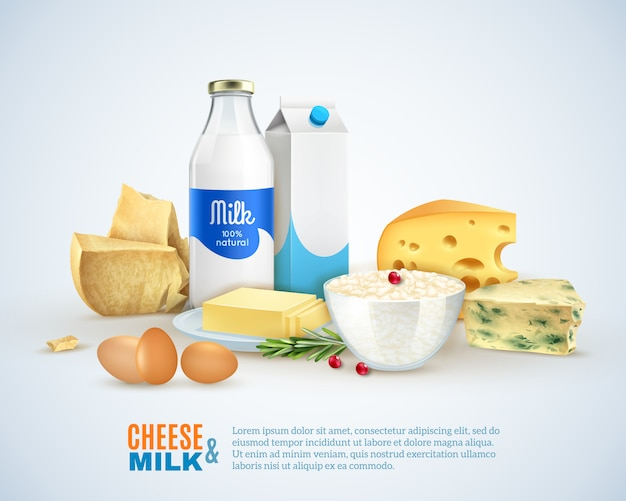 Milk products template Free Vector