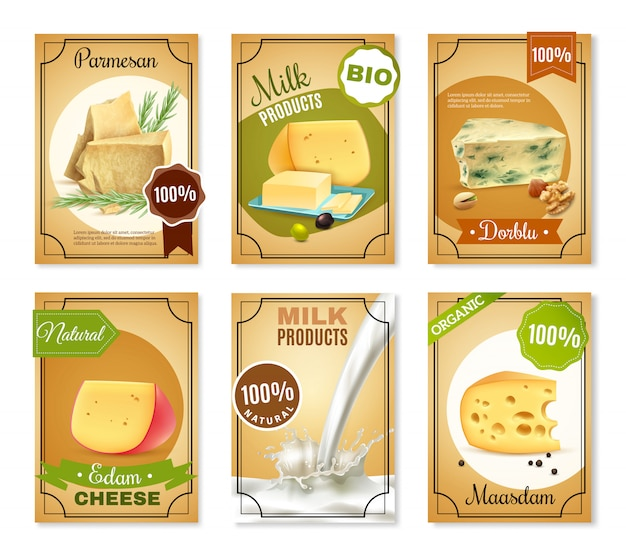 Milk products vertical banners Free Vector