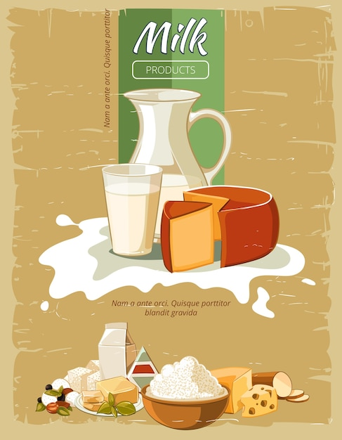 Milk products vintage vector poster. organic natural fresh cheese, nutrition for breakfast illustration Free Vector