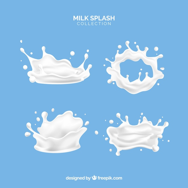 Milk splashes collection in 3d style Free Vector