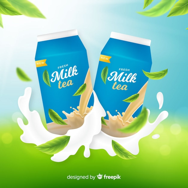 Milk tea advertisement background Free Vector