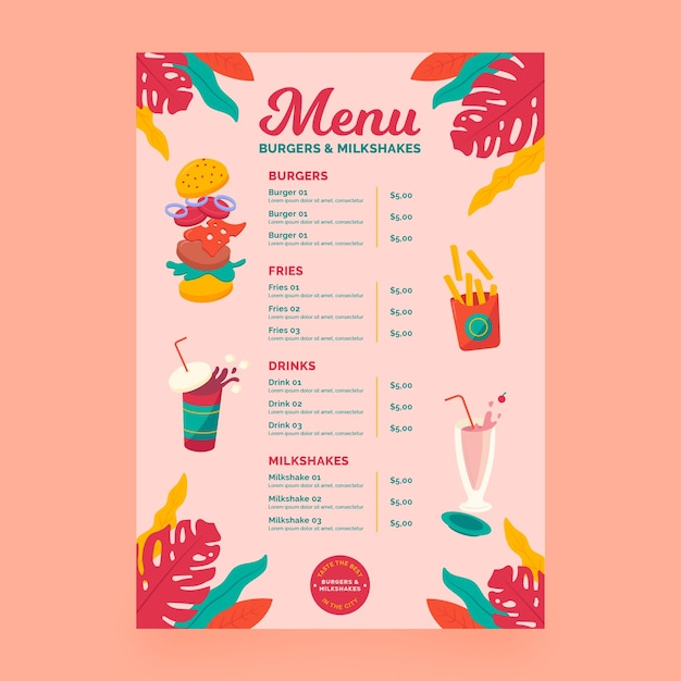Milkshakes and burgers menu concept Free Vector