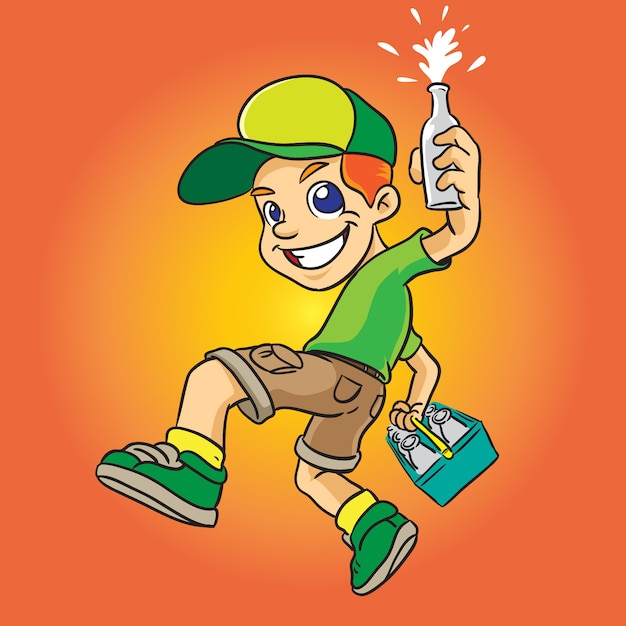 Milky boy cartoon in green uniform Premium Vector