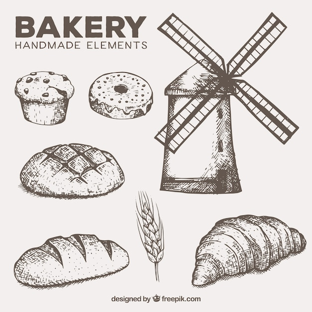Mill and handmade bakery elements Free Vector
