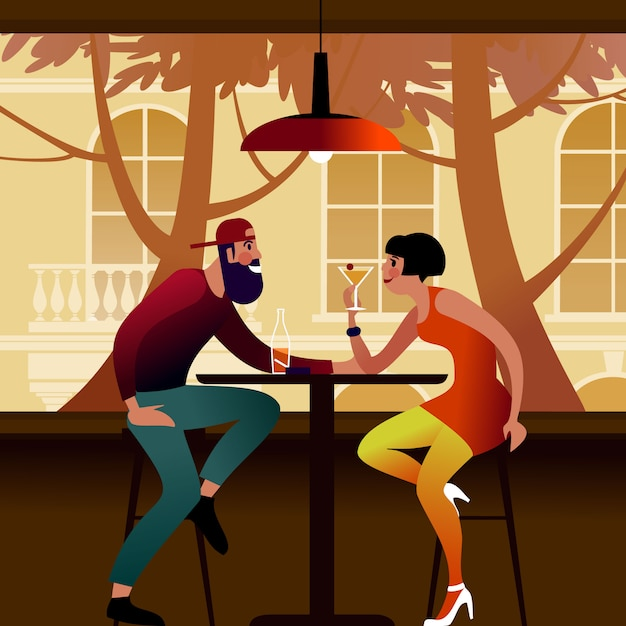 Millennial couple at a table in a summer cafe. flat  illustration. Premium Vector