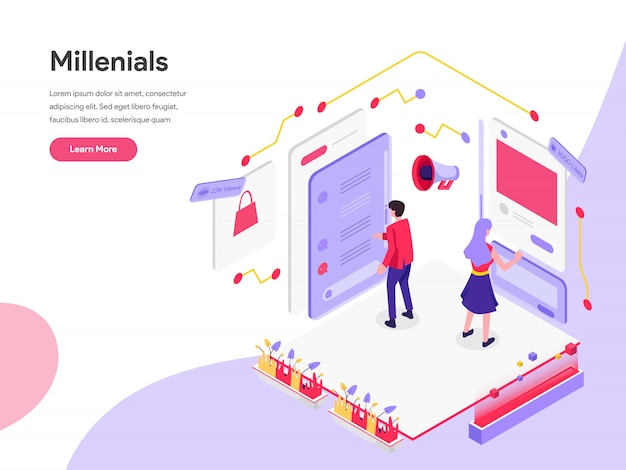 Millennials and social media isometric illustration concept Premium Vector