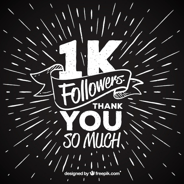 A million followers thanks vintage background Free Vector