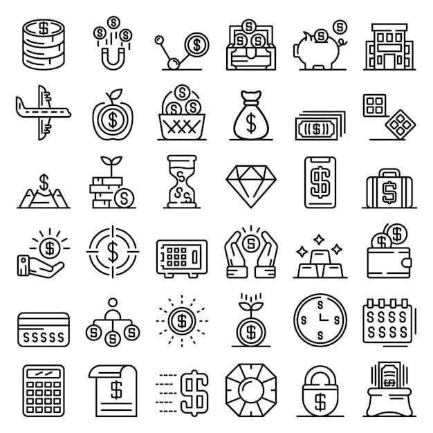 Millionaire icons set, outline style Premium Vector