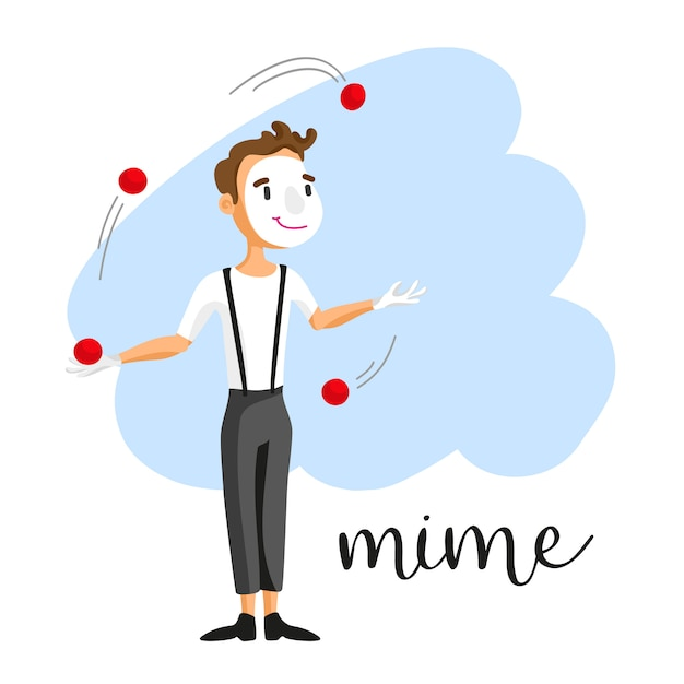 A mime performing a pantomime behind an invisible wall Free Vector