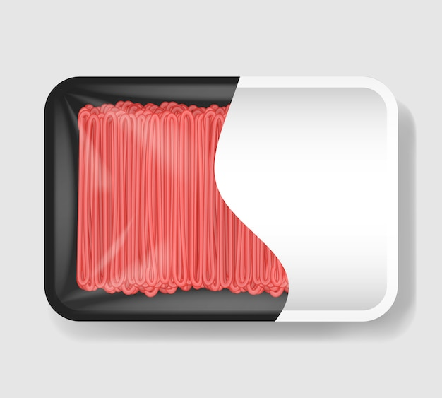 셀로판 덮개가있는 플라스틱 트레이 용기에 다진 고기. 분명 흰색 레이블 템플릿 플라스틱 식품 용기입니다. 삽화. 프리미엄 벡터
