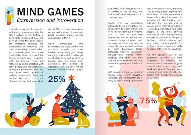 Giochi mentali estroversione e introversione infografiche, pagine di libri con comportamenti di persone durante il tempo libero Vettore gratuito