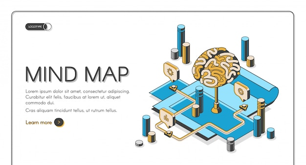 Mind map isometric landing page Free Vector