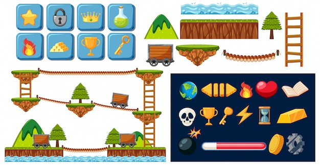 A mine game elements Free Vector
