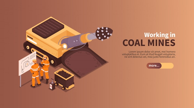 Mine isometric banner composition with slider more button editable text and human characters of coal miners  illustration Free Vector